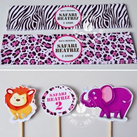 Kit festa infantil Safari Rosa e Marrom - Rótulo de água e toppers decorativos