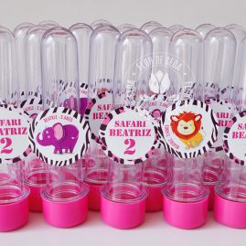 Kit festa infantil Safari Rosa e Marrom - Tubetes