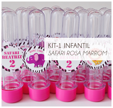 KIT FESTA INFANTIL SAFARI ROSA E MARROM KIT1