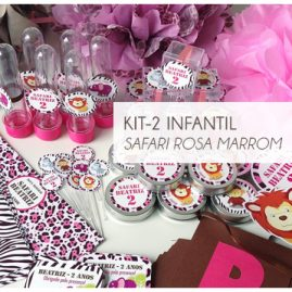 KIT FESTA INFANTIL SAFARI ROSA E MARROM KIT2